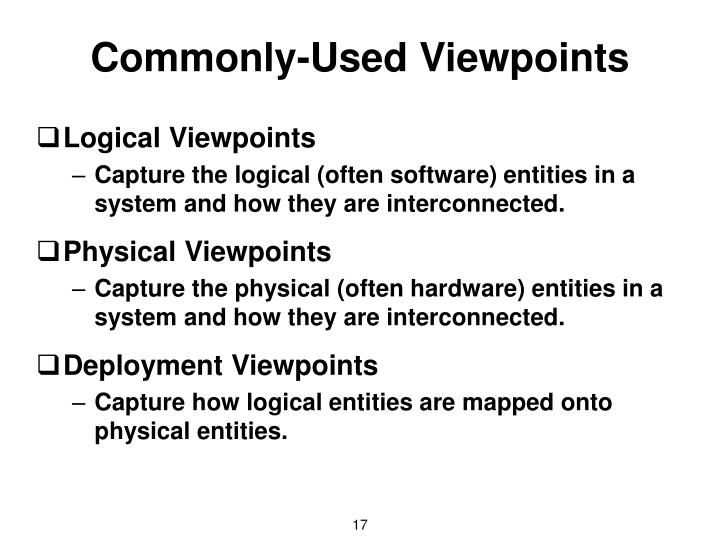 Commonly-Used Viewpoints