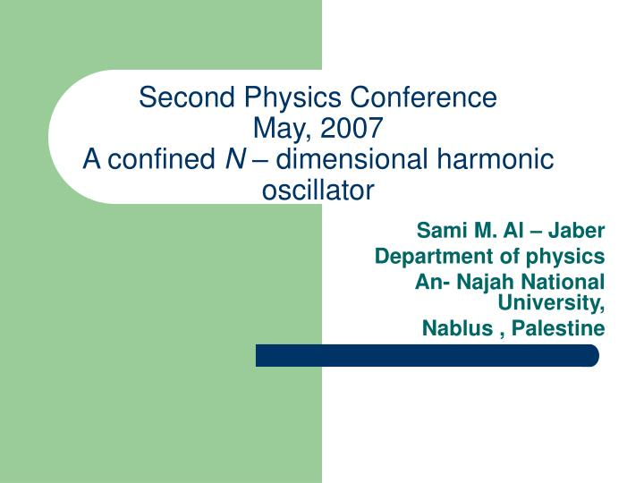 Second physics conference may 2007 a confined n dimensional harmonic oscillator