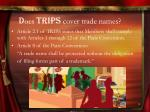 d oes trips cover trade names