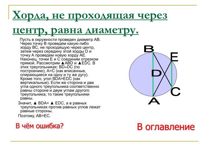 Пусть в окружности проведен диаметр АВ. Через точку В проведем какую-либо хорду ВС, не проходящую через центр, затем через середину этой хорды