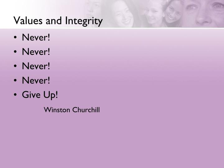 Values and Integrity