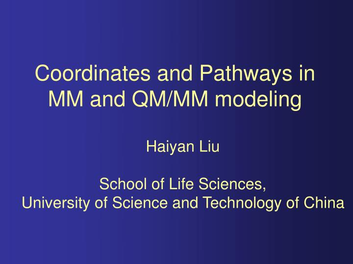 Coordinates and pathways in mm and qm mm modeling