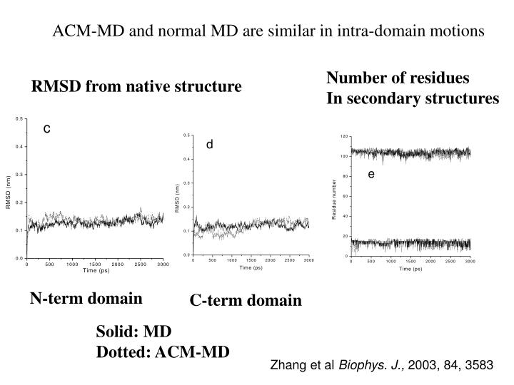 ACM-MD and normal MD are similar in intra-domain motions