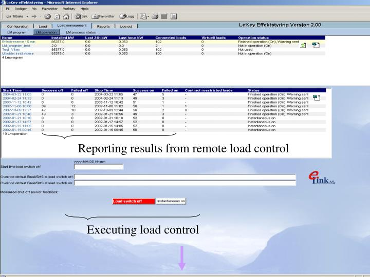 Reporting results from remote load control