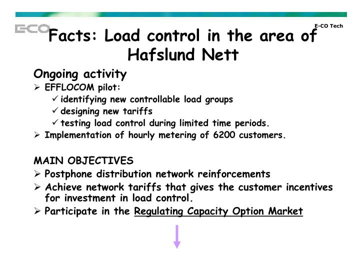 Facts: Load control in the area of Hafslund Nett