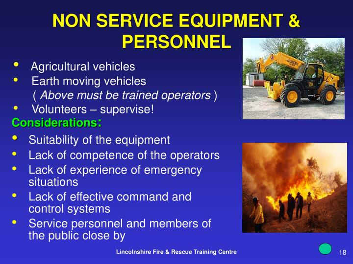 NON SERVICE EQUIPMENT & PERSONNEL