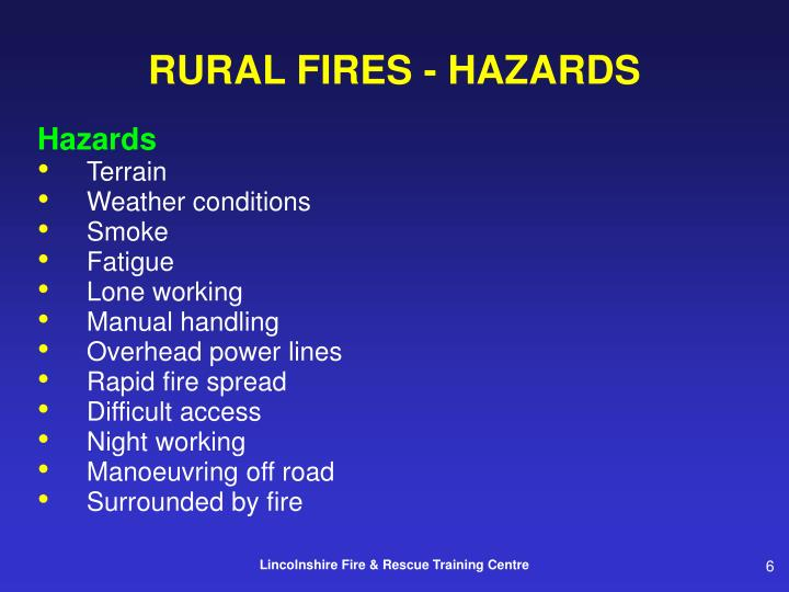 RURAL FIRES - HAZARDS