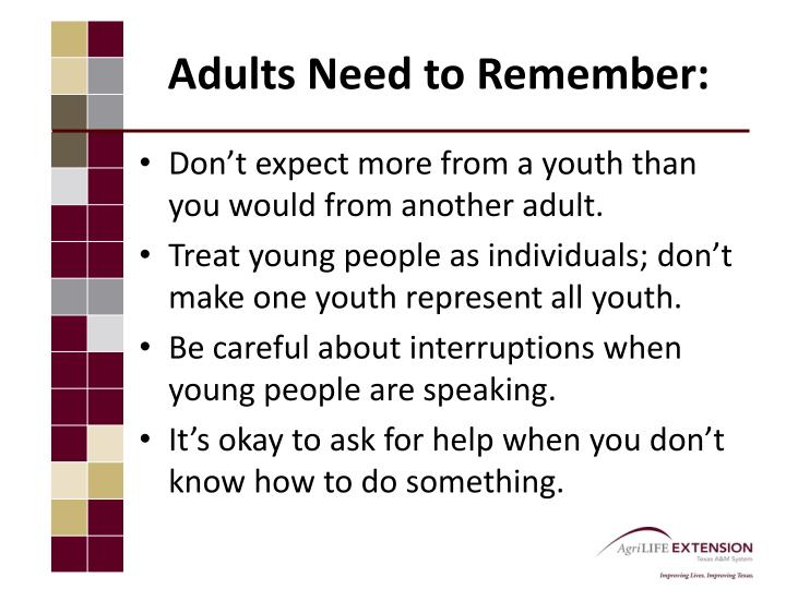 Adults Need to Remember: