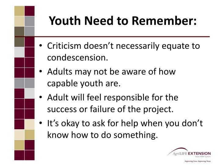 Youth Need to Remember: