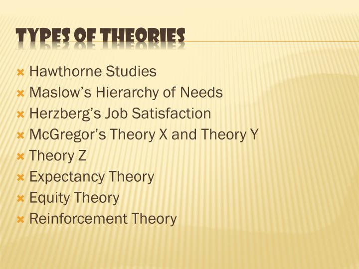 Types of theories