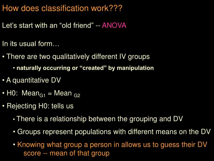 How does classification work???