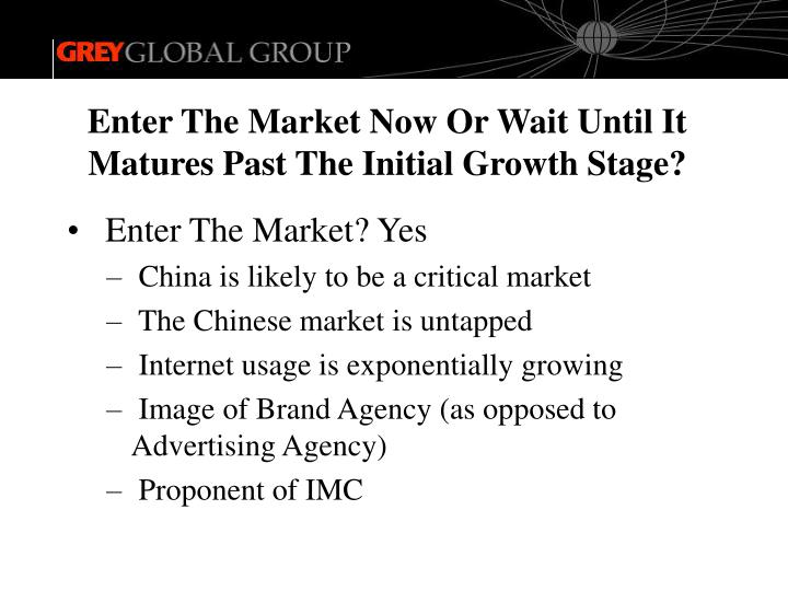 Enter The Market Now Or Wait Until It Matures Past The Initial Growth Stage?