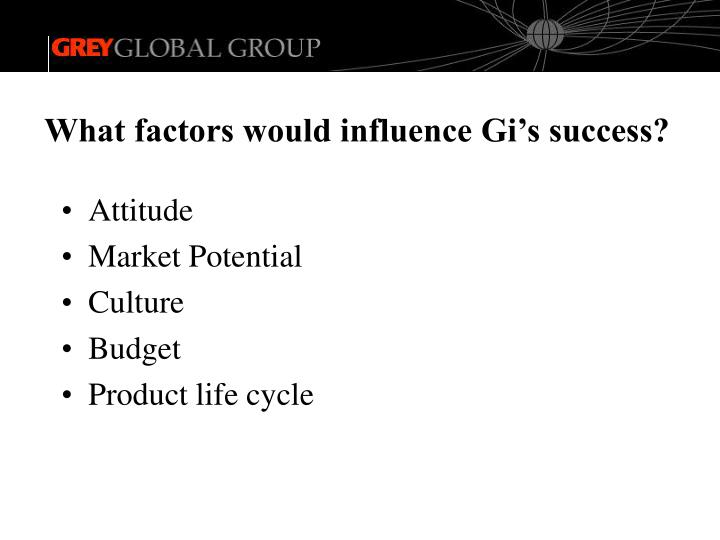 What factors would influence Gi's success?