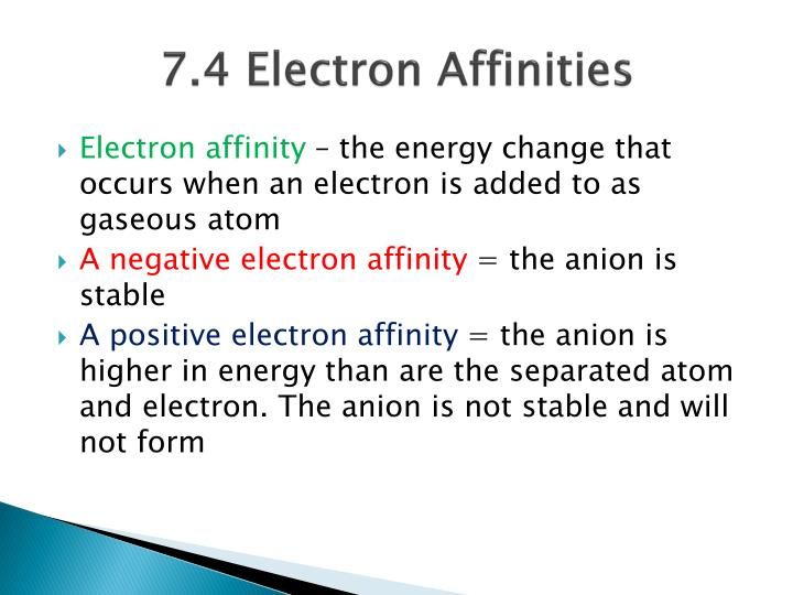 7.4 Electron Affinities