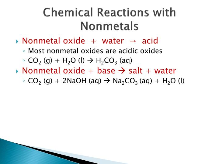 Chemical Reactions with Nonmetals