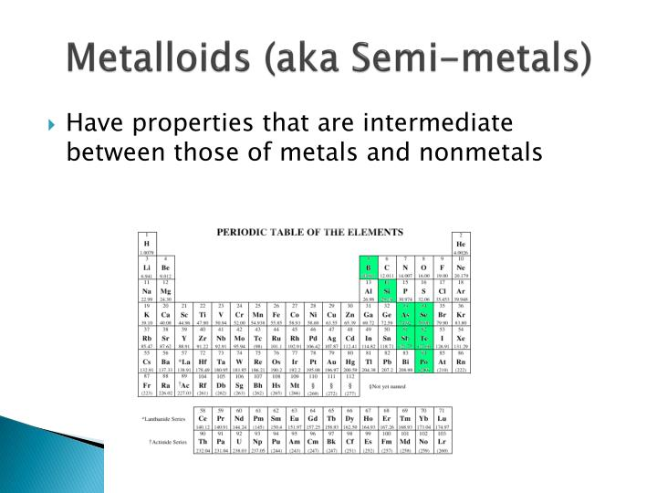 Metalloids (aka Semi-metals)