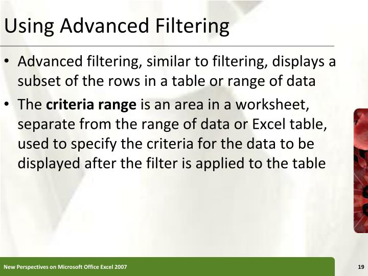 Using Advanced Filtering
