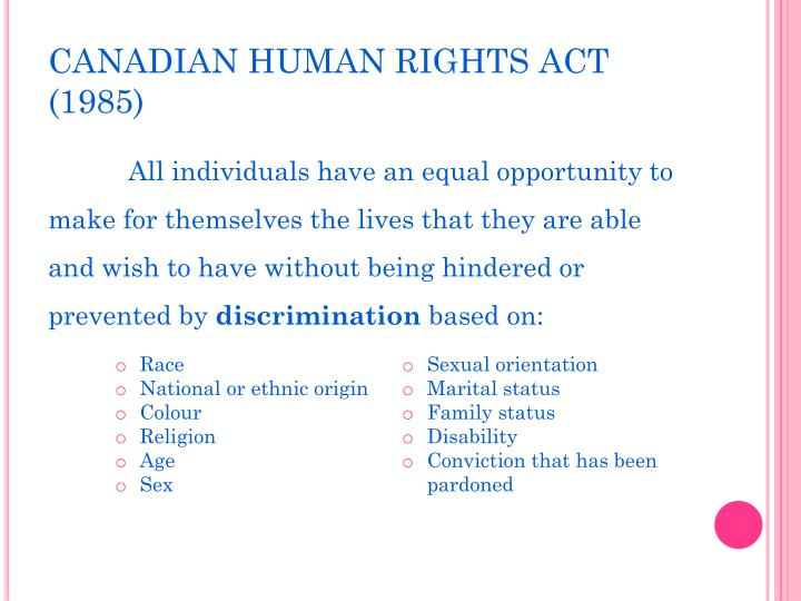 CANADIAN HUMAN RIGHTS ACT (1985)