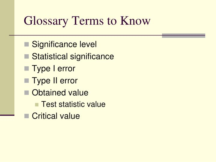 Glossary Terms to Know