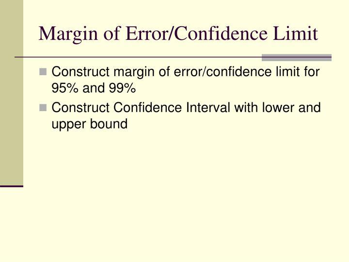 Margin of Error/Confidence Limit