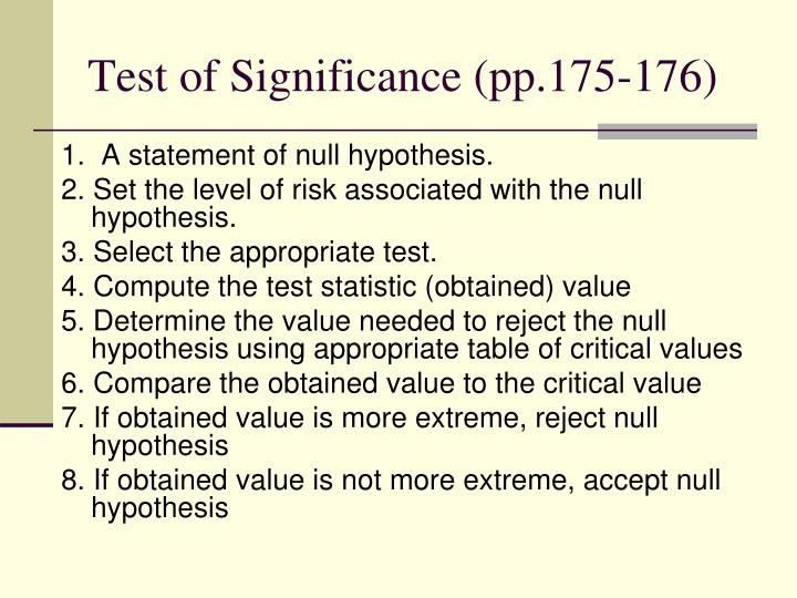 Test of Significance (pp.175-176)