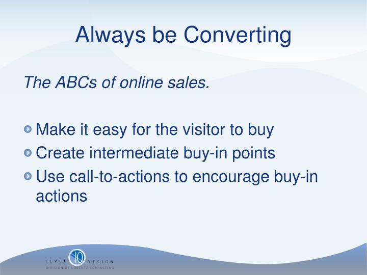The ABCs of online sales.