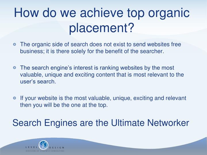 The organic side of search does not exist to send websites free business; it is there solely for the benefit of the searcher.
