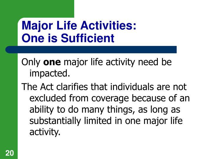 Major Life Activities: