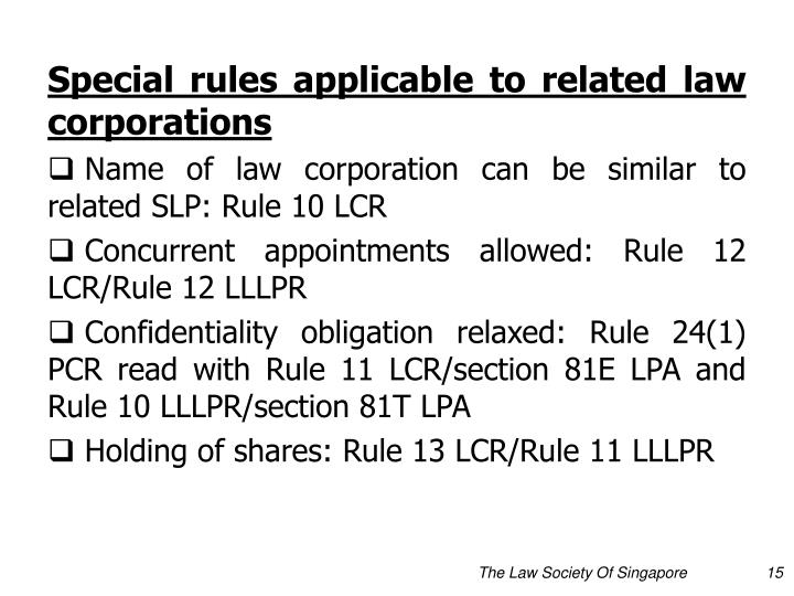 Special rules applicable to related law corporations