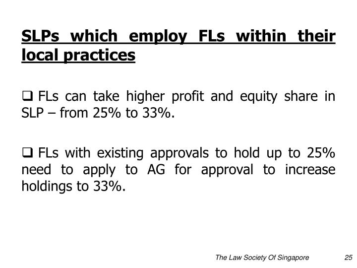 SLPs which employ FLs within their local practices
