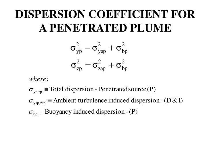 DISPERSION COEFFICIENT FOR A PENETRATED PLUME
