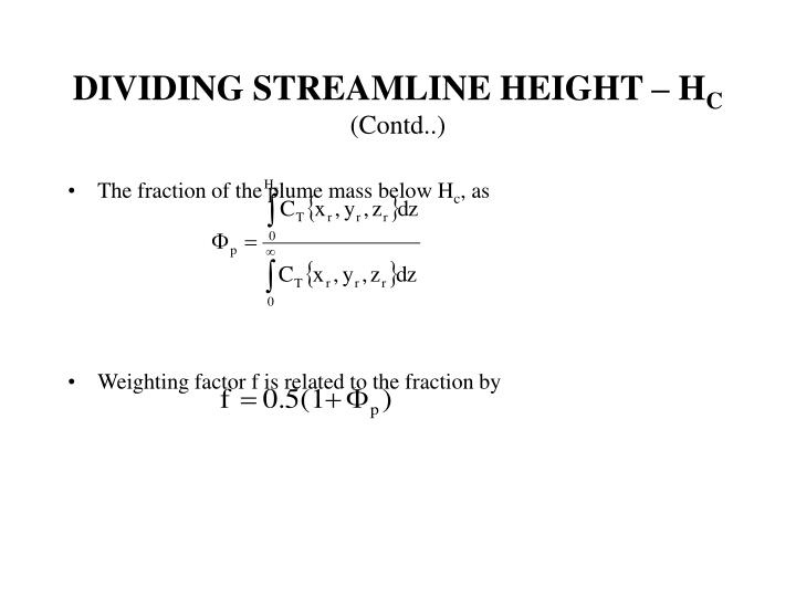 DIVIDING STREAMLINE HEIGHT – H