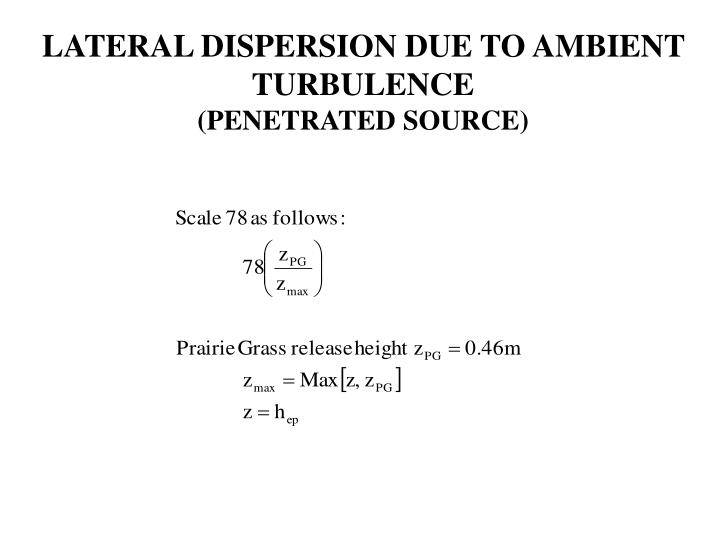 LATERAL DISPERSION DUE TO AMBIENT TURBULENCE