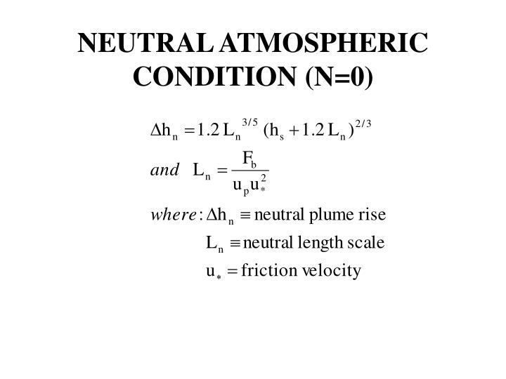 NEUTRAL ATMOSPHERIC CONDITION (N=0)
