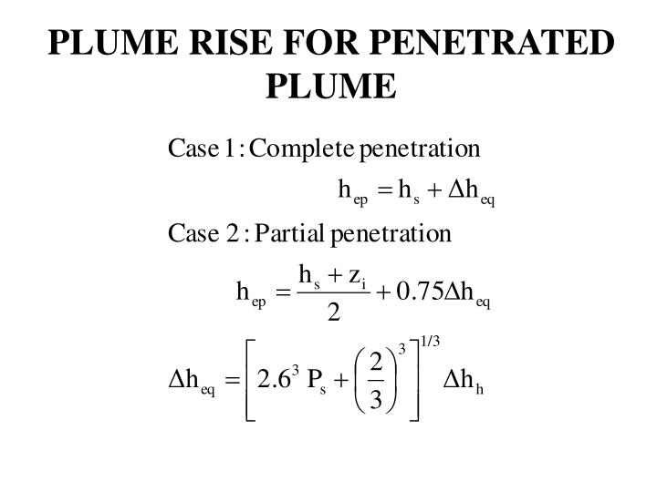 PLUME RISE FOR PENETRATED PLUME
