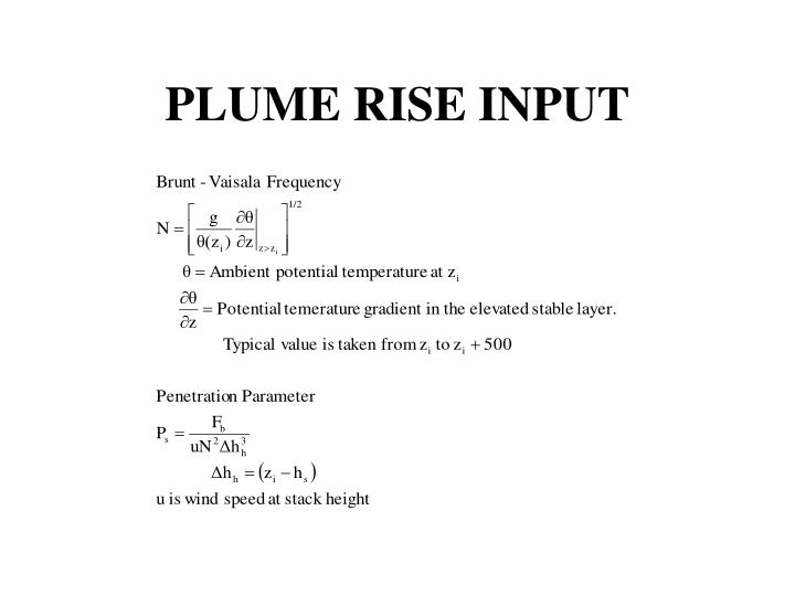 PLUME RISE INPUT