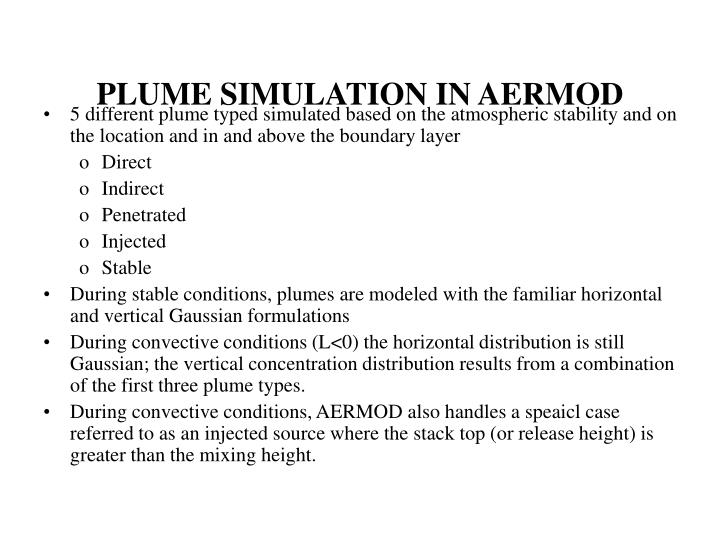PLUME SIMULATION IN AERMOD
