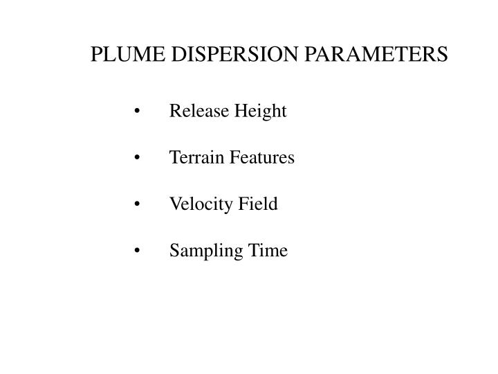 PLUME DISPERSION PARAMETERS