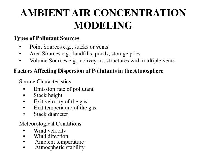 AMBIENT AIR CONCENTRATION MODELING