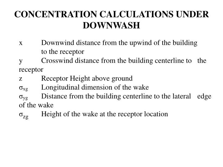 CONCENTRATION CALCULATIONS UNDER DOWNWASH