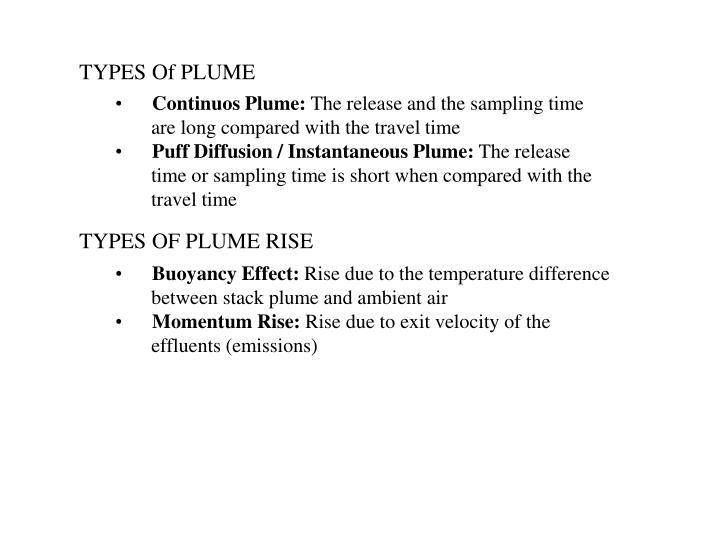 TYPES Of PLUME