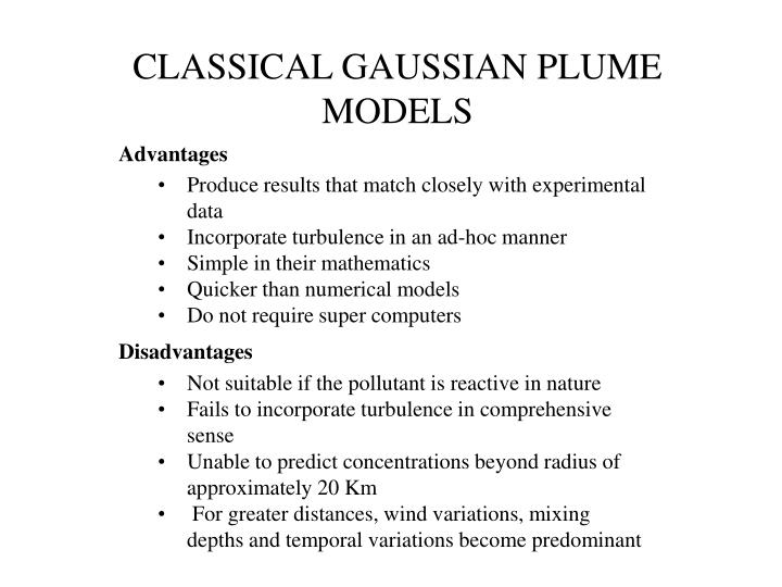 CLASSICAL GAUSSIAN PLUME MODELS