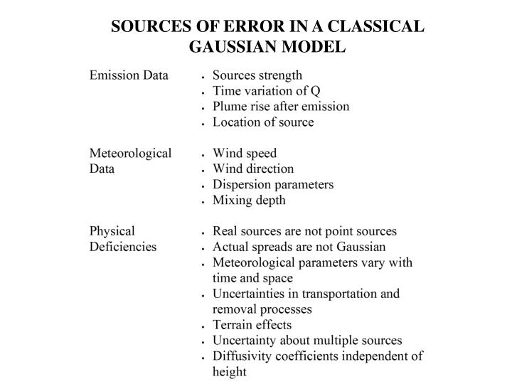 SOURCES OF ERROR IN A CLASSICAL GAUSSIAN MODEL