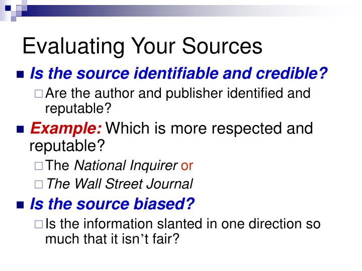 Evaluating Your Sources