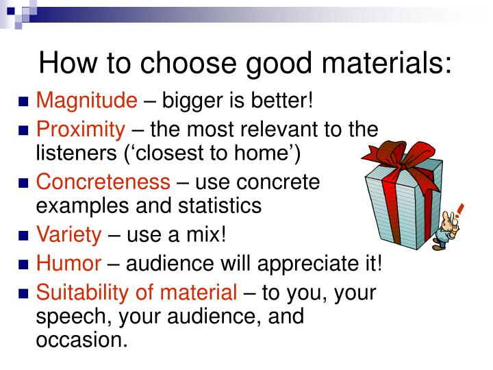 How to choose good materials:
