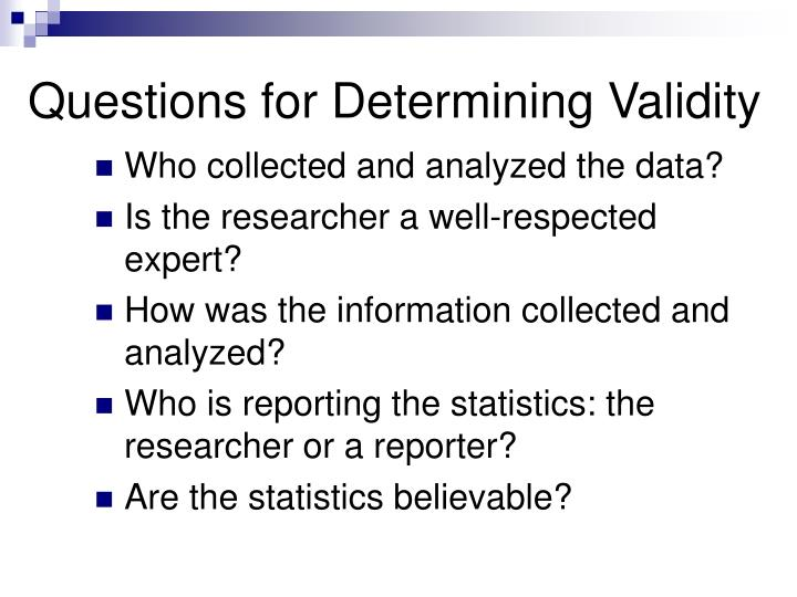 Questions for Determining Validity