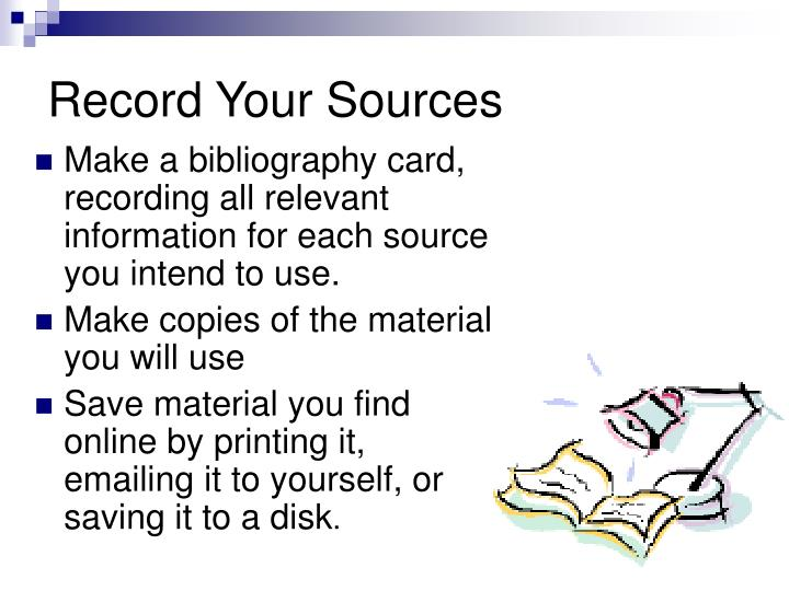 Record Your Sources