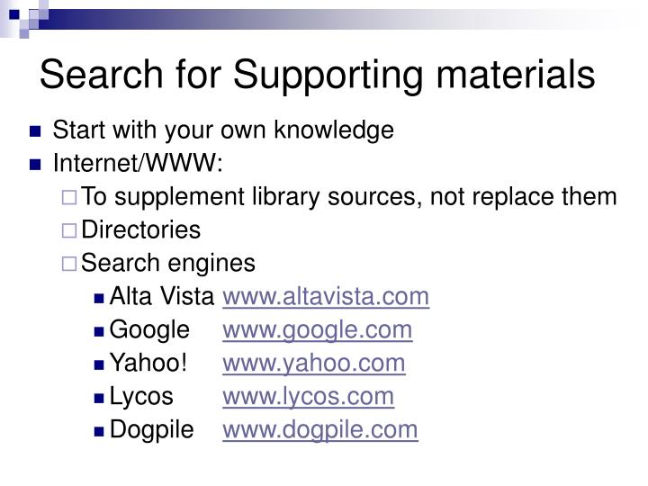 Search for Supporting materials