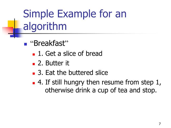 Simple Example for an algorithm