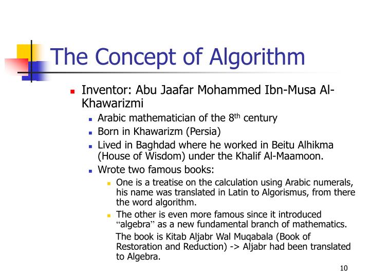 The Concept of Algorithm